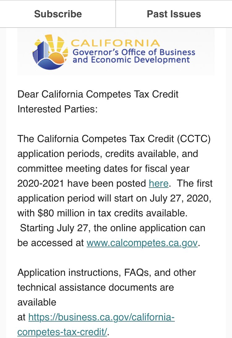 🗣ANNOUNCEMENT  CalCompetes Tax Credit application periods, credits available, & committee meeting dates for fiscal year 2020-2021 have been posted! The first application period will start on July 27, with $80 million in tax credits available. ➡️ https://t.co/gOZ5JkPK95 https://t.co/fDWtX8cDaZ