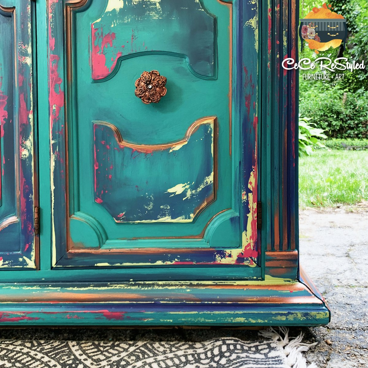 Dixie Belle Paint Company On Twitter What Boho Dreams Are Made Of This Vibrant China Cabinet Was Vividly Painted In The Colors Mermaid Tail Pure Ocean The Gulf Limeade Peony Aubergine And
