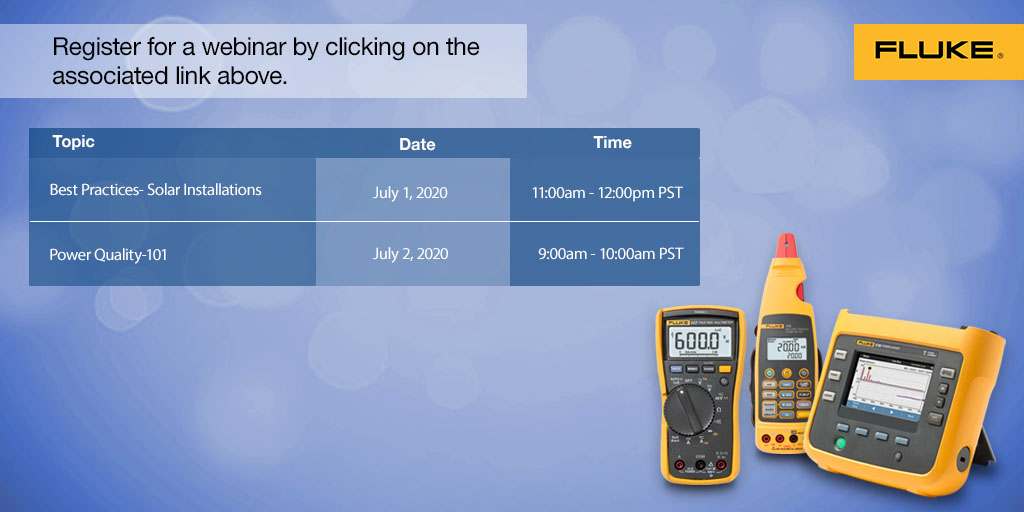 WEBINARS: We have two opportunities for you this week to learn from Fluke experts. Click the links below to register:  1. Best Practices: Solar Installation >> https://t.co/VsQIuuTsjo   2. Power Quality 101 >> https://t.co/FnMONg7uSG https://t.co/GgU27llZpg