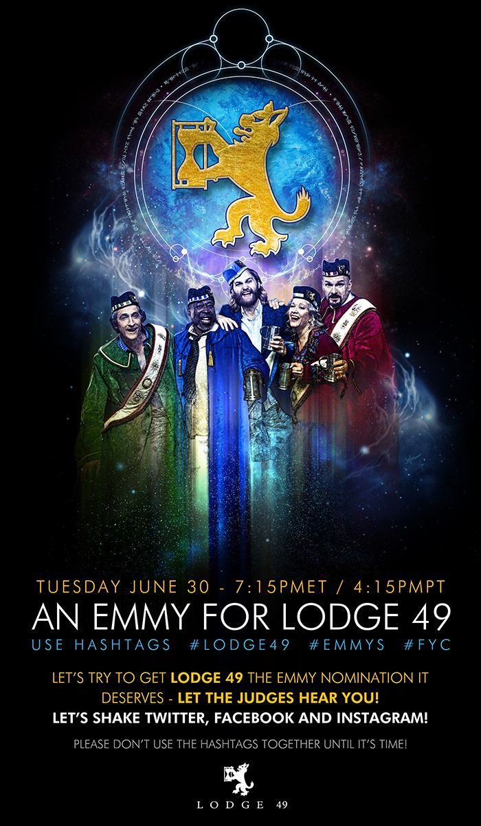 From Luminous Knight @darth_jeffR - Tonight at 7pmET / 4:15pmPT!  Let's shake Twitter, Facebook and Instagram!  Want some FYC images to post? Here ya go  #Lodge49 #longlivelodge49 #Lodge49Forever #WeareLodge49 #savelodge49