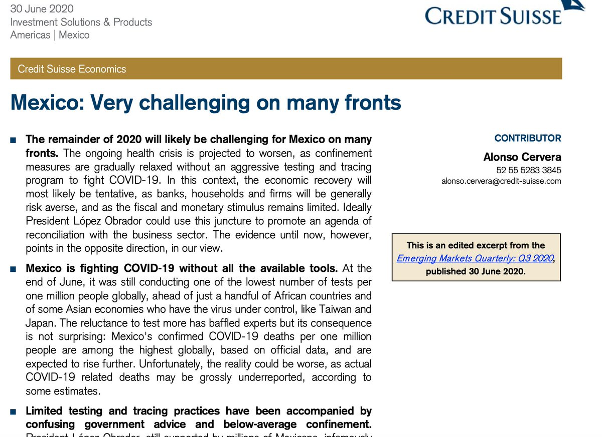 """Último reporte de Credit Suisse: """"Whether the actual economic contraction ends up being -9%, -10% or -12% will be largely irrelevant, however. It will be ugly - the steepest contraction since at least 1932"""". Así las cosas. https://t.co/sU3I6Fd8oD"""