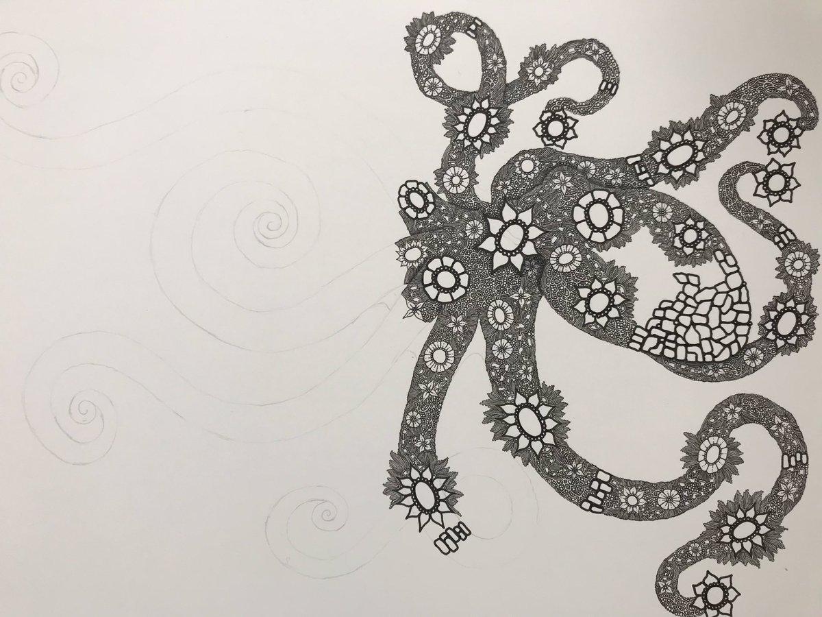#タコ #蛸 #ペン画 #octopus #penart 5本目の足に突入pic.twitter.com/sSVtbetUUj