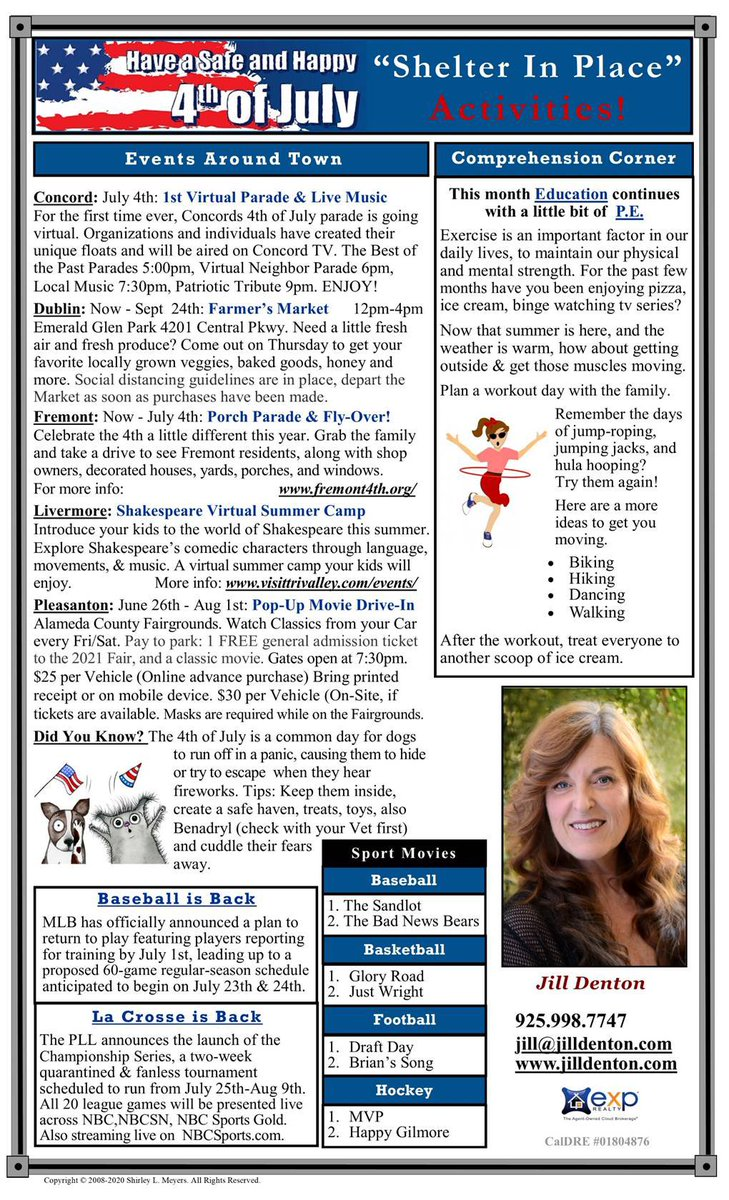Things to do: July 2020.  DM me and I'll send you a pdf which is much easier to read!  #jilldenton  #realtor #realestateagent #DRE01804876  #californiarealestate #bayarearealestate  #exprealty  #danvillerealestate #sanramonrealestate #livermorerealestate #pleasantonrealestatepic.twitter.com/EtdMkoU8ab