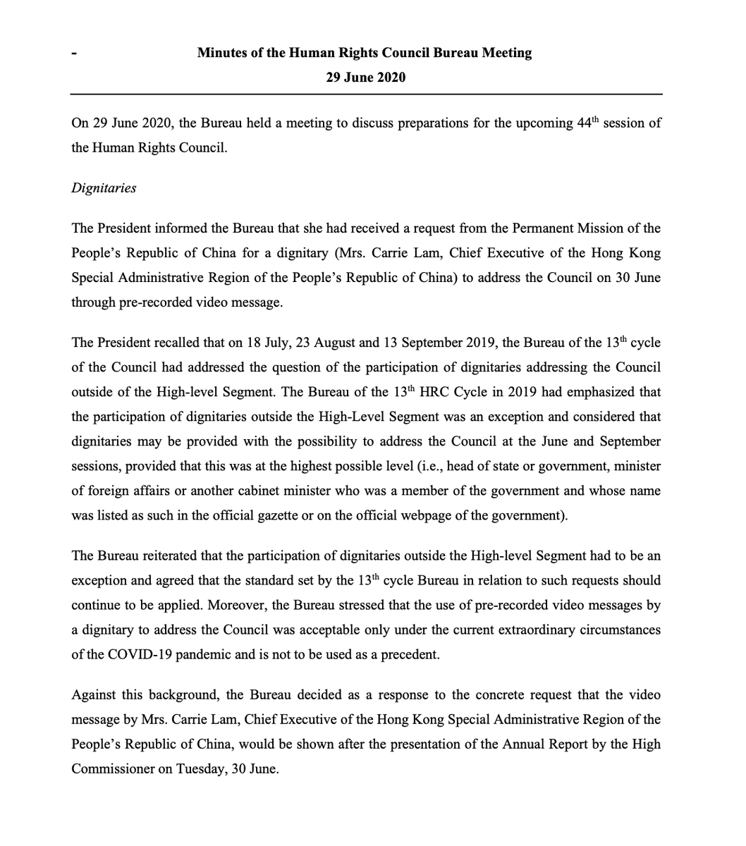 Here are the non-public minutes of the UN Human Rights Council bureau meeting where they OK'd China's request for Beijing's puppet ruler of Hong Kong Carrie Lam to specially address the Council—even though the normal rules don't allow it—on the same day China swallowed Hong Kong. https://t.co/nSqsizImlT