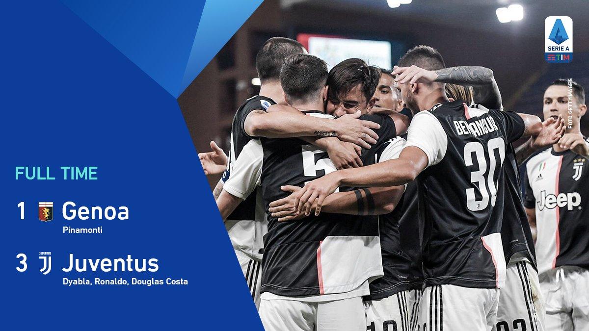 Tris della @juventusfc nella ripresa: @PauDybala_JR, @Cristiano e @douglascosta decidono la partita. A segno Pinamonti per il @GenoaCFC. 🔚  #GenoaJuve #SerieATIM #WeAreCalcio https://t.co/TVdN6qc0AY