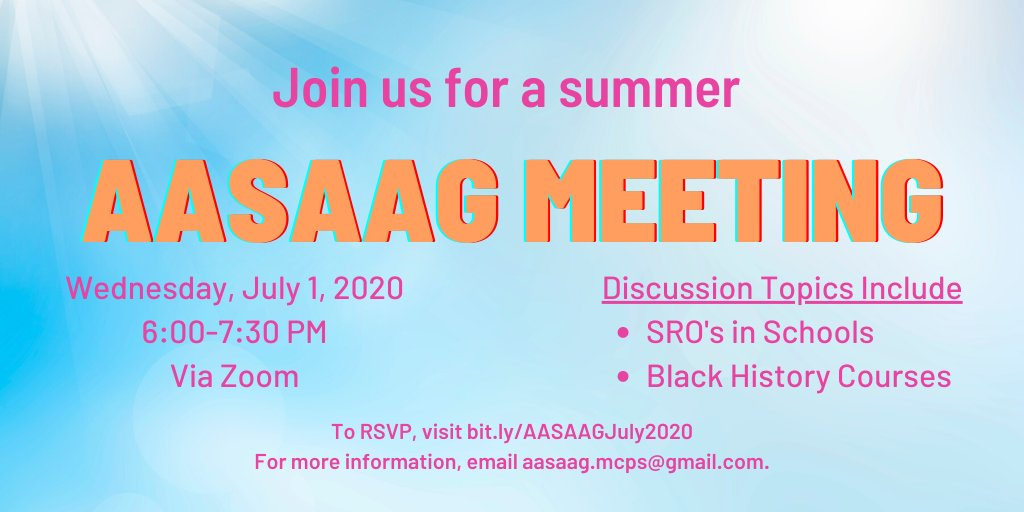 Tomorrow night, we'll talk about role of #SROs in schools, and availability of #Blackhistory high school courses and history lessons through out schools, as part of our ongoing work in improving African-American student achievement.  Register - http://bit.ly/AASAAGJuly2020pic.twitter.com/EK4YAAD9CB
