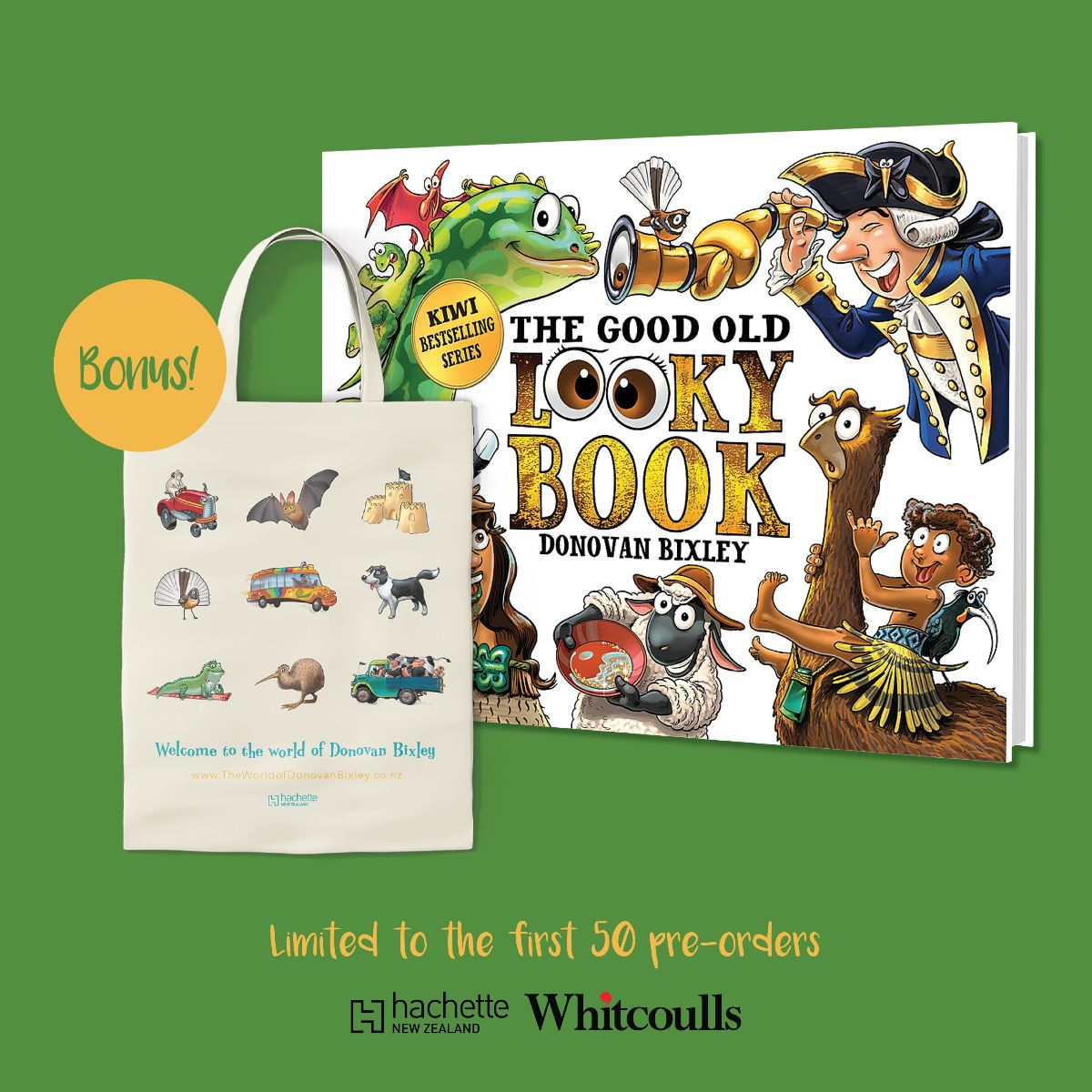 THE GOOD OLD LOOKY BOOK by Donovan Bixley Author/Illustrator is available for pre-order now. And get in quick: the first 50 pre-orders online at Whitcoulls will receive a free tote bag! https://t.co/KWVZlaozQA https://t.co/bPkI51oFkX
