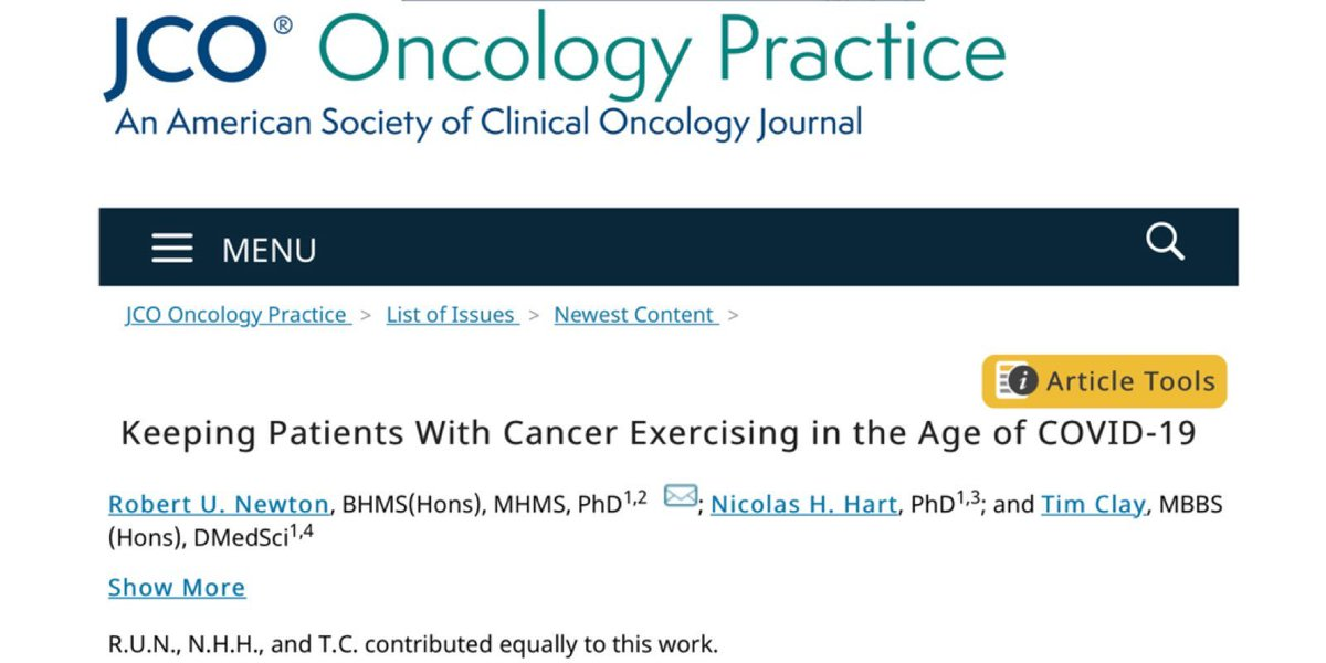 Critical that cancer patients continue with their exercise medicine despite COVID-19 restrictions. Pivoting to digital health solutions and adjustment in supportive care approaches required. @DrNicolasHart @DrTClay @EdithCowanUni @ASCO_pubs  https://t.co/ZZKX4OMCT9 https://t.co/gcd7YzdpgG
