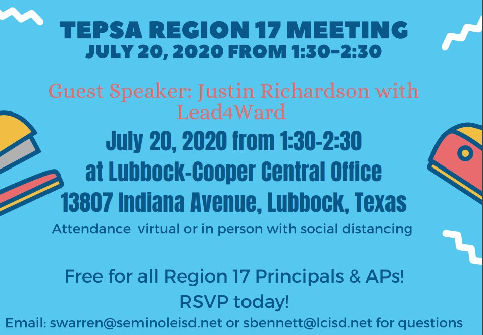 RSVP to join Region 17 Principals in July! docs.google.com/forms/d/e/1FAI… #weleadtx