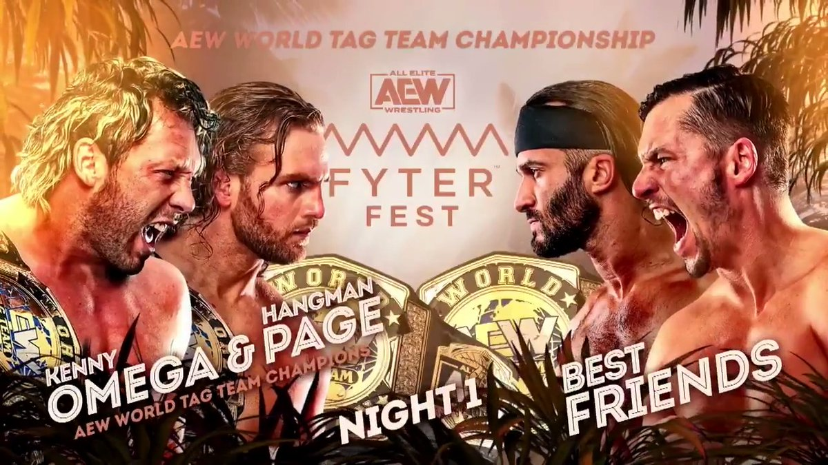 The #AEW World Tag Team Championships are on the line as the champions #Hangman Adam Page & @KennyOmegamanX face the challengers #BestFriends tonight at #FyterFest! Watch night one of #FyterFest for FREE TONIGHT at 8e7c on @TNTDrama. #AEWonTNT #AEWDynamite