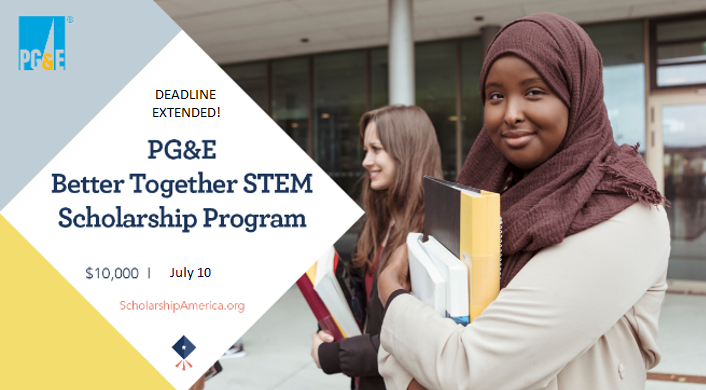 Deadline extended! The PG&E Better Together #STEM #Scholarship is open through 7/10. If you're planning on being a full-time STEM undergrad at a CA university next year, visit https://t.co/WpMYxBNUu9 now to learn more & apply. Applicants must be CA residents & PG&E customers. https://t.co/EpjEjy4DDm