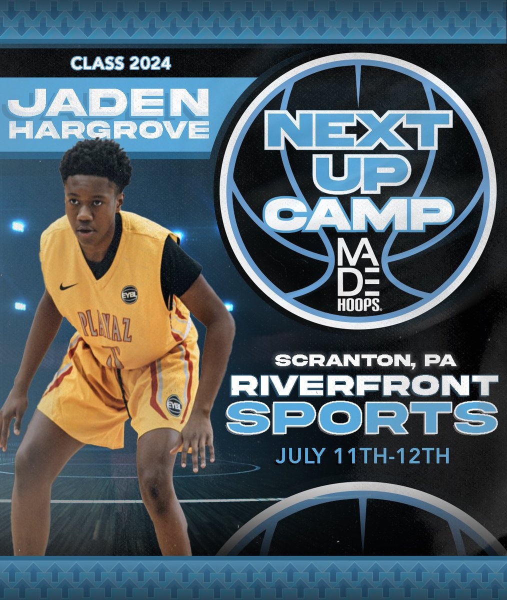 2025 Jaden Hargrove is LOCKED IN 🔐 and ready to show out at Next Up Camp! 💪  Are YOU Next Up? It's time to #CreateYourName.  🗓: July 11th-12th, 18th-19th, & 25th-26th ⛹️: Classes 2021-2026 🏟: Riverfront Sports 📍: Scranton, PA 🎥: Live Streamed  🎟: https://t.co/Pwy8j4Nvqa https://t.co/oL2SngnRwg