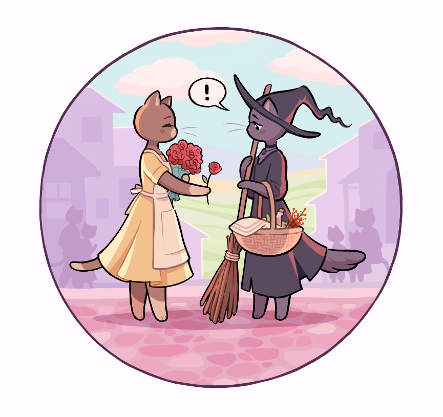 oh to be a cat witch, accepting a rose from the cute florist in town