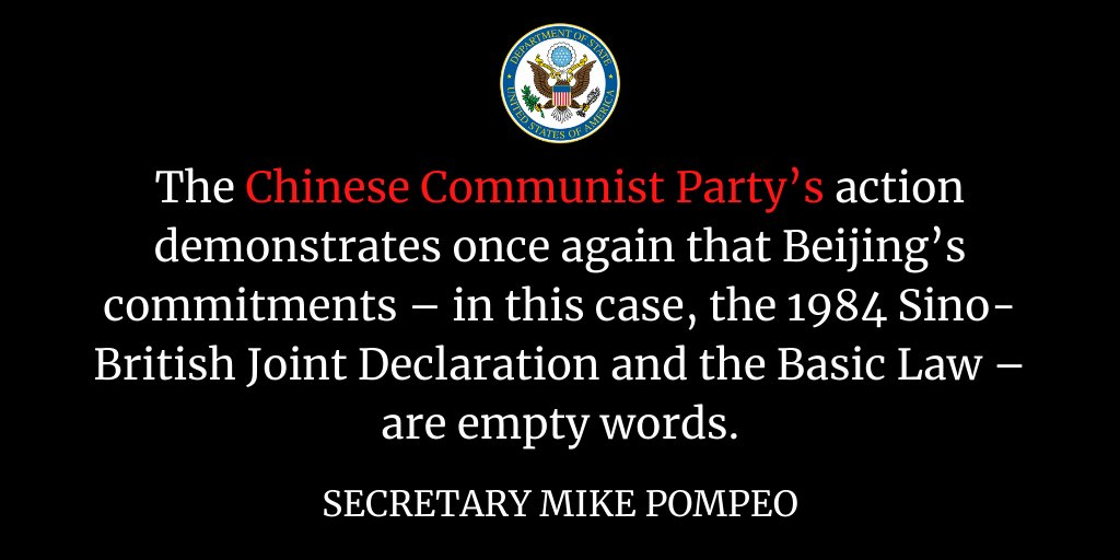 """JUST IN: @SecPompeo issued a Statement on Beijing's Imposition of National Security Legislation on Hong Kong. """"The United States will not stand idly by while China swallows Hong Kong into its authoritarian maw,"""" the Secretary stressed.   FULL STATEMENT: https://t.co/LJGrk1slty https://t.co/p8DyvXZCRt"""