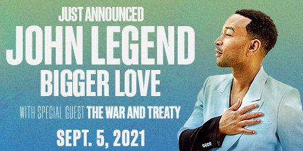 Next summer is going to be legendary! Multi-Platinum artist @johnlegend will bring his Bigger Love tour to Ravinia on September 5, 2021! 💙💚  Ticket availability will be announced at a later date. https://t.co/qgk9o0Suoj