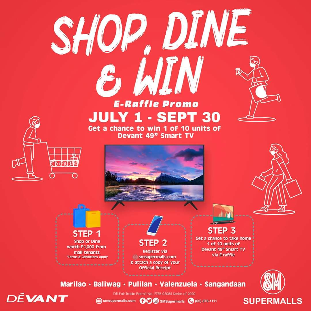 """Who's up for some awesome prizes? 🙋♂🙋♀📺 Shop & dine at your favorite SM Supermalls in Bulacan & CaMaNaVa and get a chance to win 1 of 10 units of Devant 49"""" Smart TV. Follow easy steps  below 👇 to join. https://t.co/vtYC0oRSjs"""