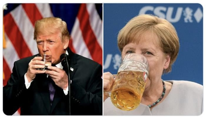 Angela downs a liter stein one handed @realDonaldTrump needs both tiny hands for an 8 oz tumbler. Get the orange baby a sippy cup. https://t.co/odhCbLcasa