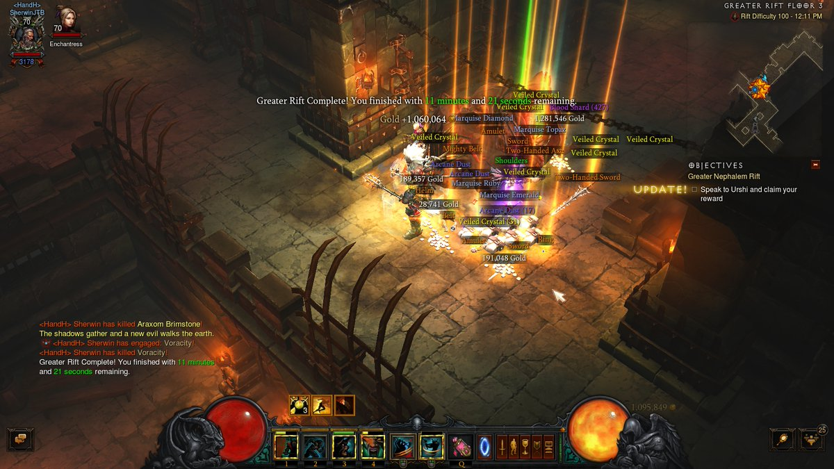 Diablo 3 Screenshot (Paragon 3178): Good afternoon! Greater Rift 100 under 4 minutes. Insanity and Superstition. 26k Strength. Bane of the Stricken, Esoteric Alteration, and Taeguk. Whirlwind Barbarian in Hardcore. Are you playing in Season 21 Hardcore Americas? #arpg #gamer pic.twitter.com/pDn7uyGedx