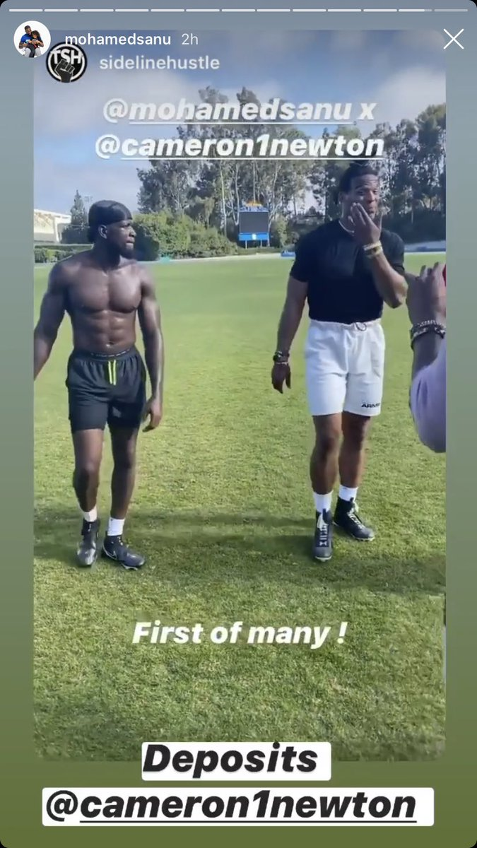 Cam Newton getting some work in with new Patriots teammate Mohamed Sanu (via Sanu's IG). <br>http://pic.twitter.com/xf47mmqmCZ