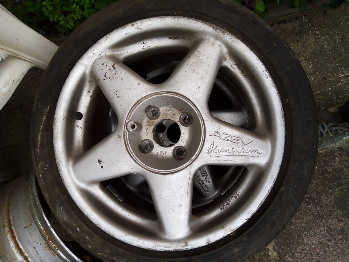 Got some #wheels for the #cavalier  just need a refurb and paint , thinking of #white to match the car 👍