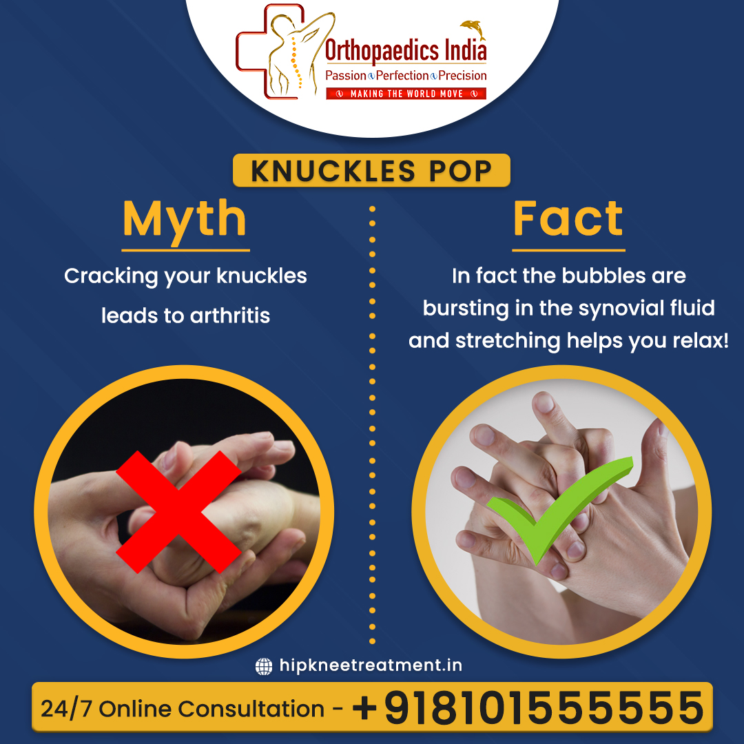 Myth vs Truth behind Cracking your knuckles💡 Follow @OrthopaedicsI  to get more intresting facts . . #orthopedic #orthopedicsurgery #orthopedics #surgery #orthopedicsurgeon #surgeon #physicaltherapy #o #medical #ortopedia #doctor #ortho #health #orthopaedic #orthop #COVID https://t.co/LERXiEqNlj