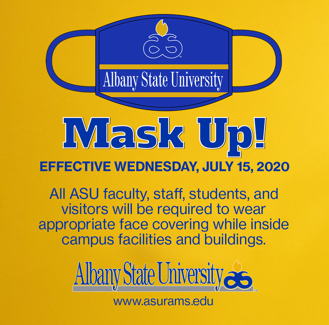Beginning today, July 15, masks will be required in all buildings on campus. Please visit https://t.co/rtOgINFlGI for additional information. https://t.co/vNR521F2jr