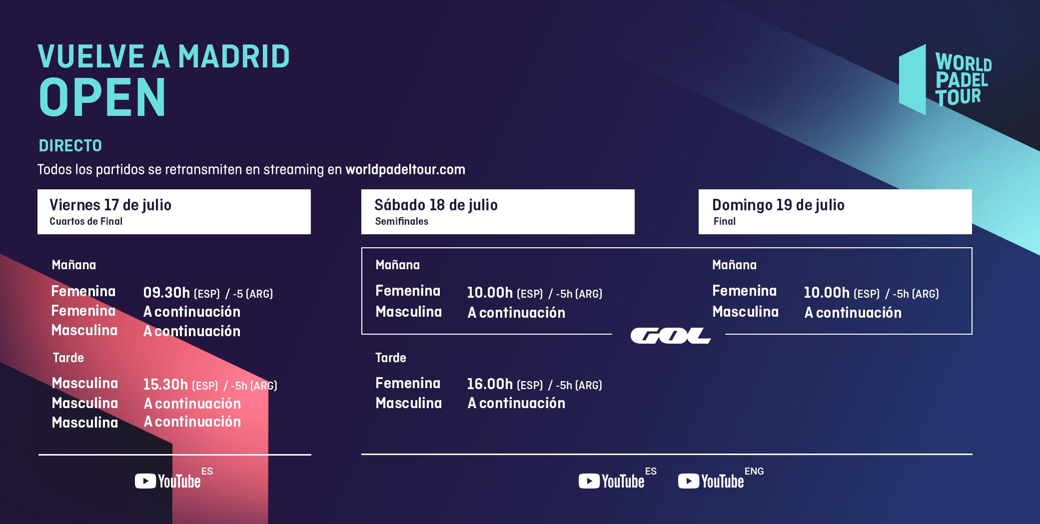 Los horarios de emisión del Vuelve A Madrid Open. | Foto: World Padel Tour