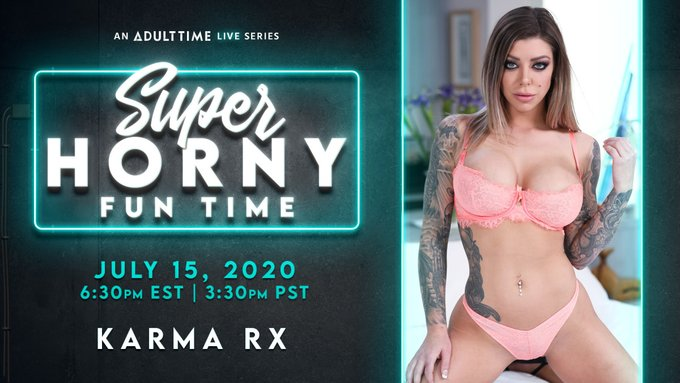 Come join @Karma_Rx for today's episode of #SuperHornyFunTime at 6:30pm EST/3:30pm PST on #AdultTime