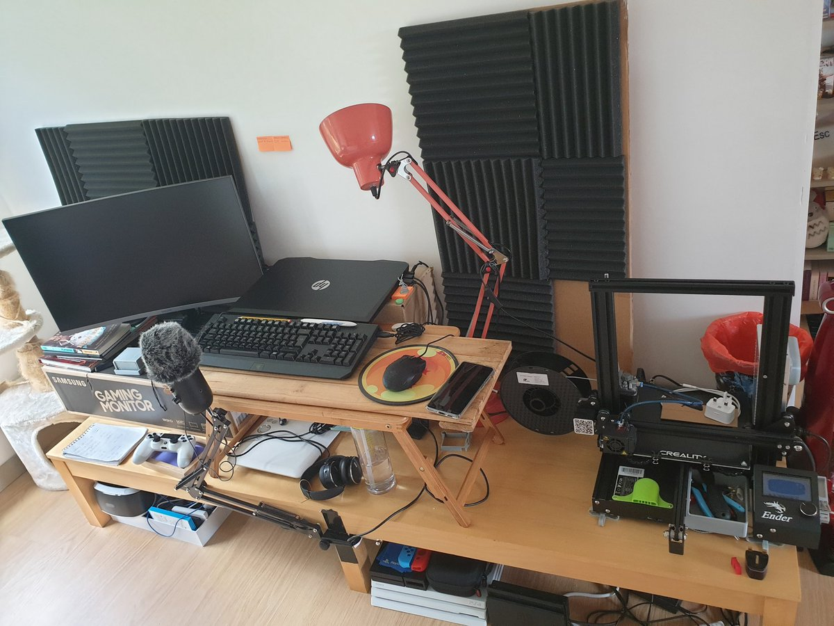 The home set up - not glamorous but functional!  You can see how it all actually performs on my #TwitchTv channel!  http://Twitch.tv/Ralpheezy89  #TwitchStreamers #BattleStations #pcgaming #3dPrinterpic.twitter.com/L5lEPoLlG0