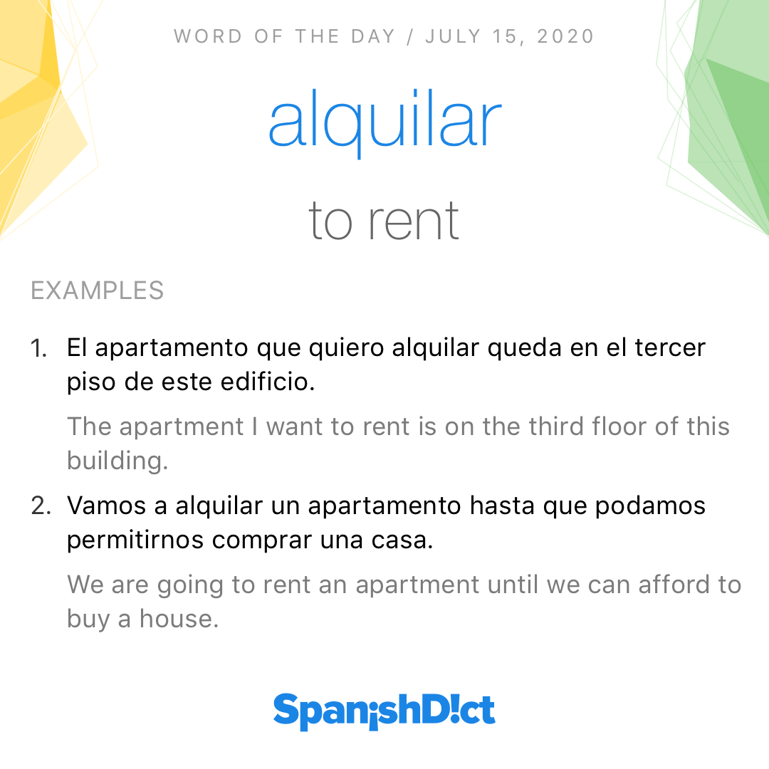 "Today's #WordoftheDay is ""alquilar""! . . . #spanishdict #spanish #español #learnspanish #spanishonline #spanishclass #spanishteacher #study #studyspanish #studygram #vocab #spanishvocabulary #vocabulario #vocabulary #words #wordpic.twitter.com/kfqk2aq182"
