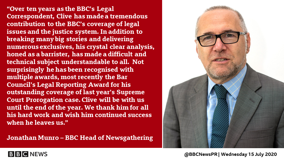 Huge thanks to BBC Legal Correspondent Clive Coleman who has decided to leave the BBC at the end of this year. https://t.co/m6OcJh1Guw
