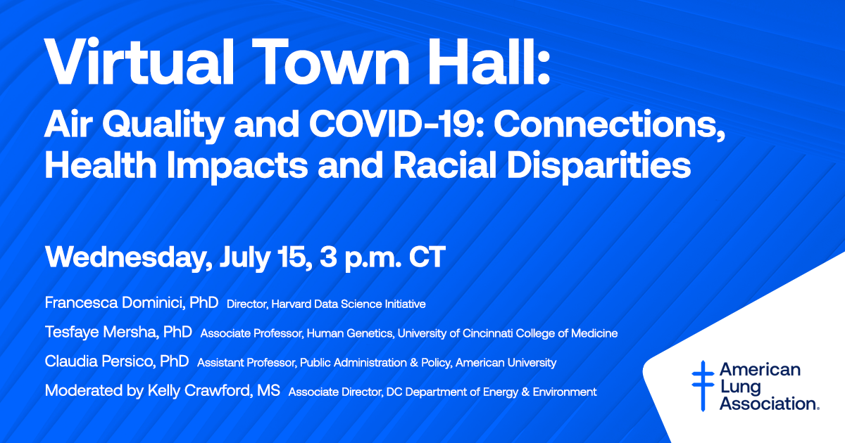 Join us for our second #COVID19 Town Hall in partnership w/ @AU_SPA, Air Quality & COVID-19: Connections, Health Impacts, and Racial Disparities. Top experts & researchers will review their work to combat these health threats. https://t.co/3nYaybqP1M https://t.co/VxZFVCKL4r