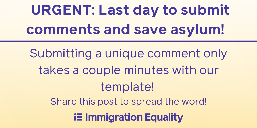 URGENT: Comments opposing the Trump admin's asylum ban must be submitted by 11:59PM! People rely on asylum for safety and protection when they have no other option. Let your voice be heard and help save asylum! Go to: https://t.co/kMbxpoI1xG  #LGBTQRights https://t.co/InsW0qUTV4