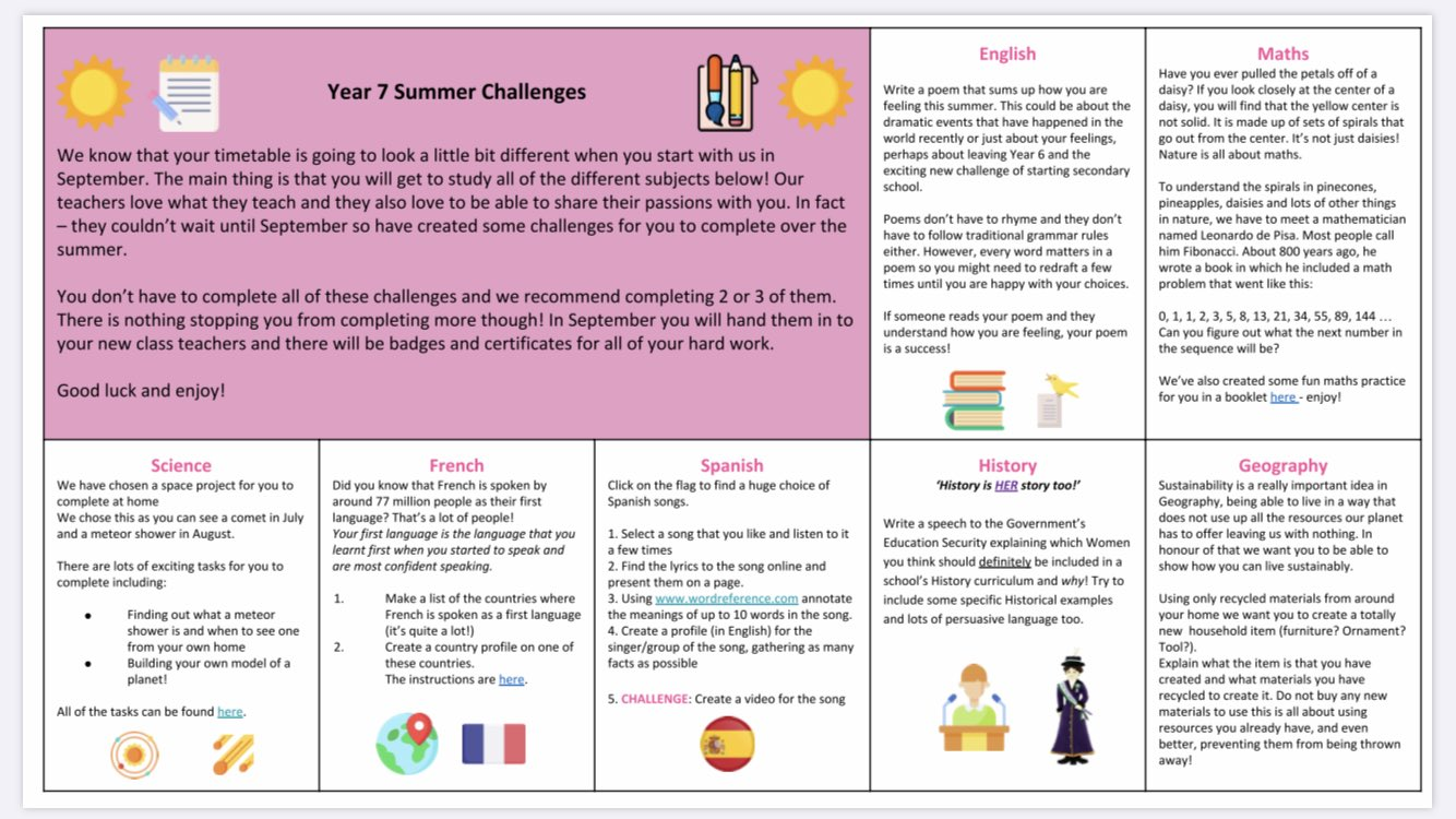 Fulham Cross Girls School A Twitter Too Excited About Secondary School That You Can T Wait To Get Started Our Teachers Have Put Together Some Fabulous Summer Challenges To Keep You Occupied Until You will be found — dear evan hansen lyric video obc. twitter