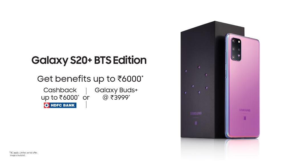 Get ready to flaunt your fandom for BTS! The #GalaxyS20+ #BTS Edition in stunning Haze Purple colour is here. Own now and get HDFC Bank cashback up to ₹6000 or Galaxy Buds+ @ ₹3999. T&C apply. Know more: https://t.co/MBYo4FL7bt #Samsung https://t.co/0ZRgjDZu8U