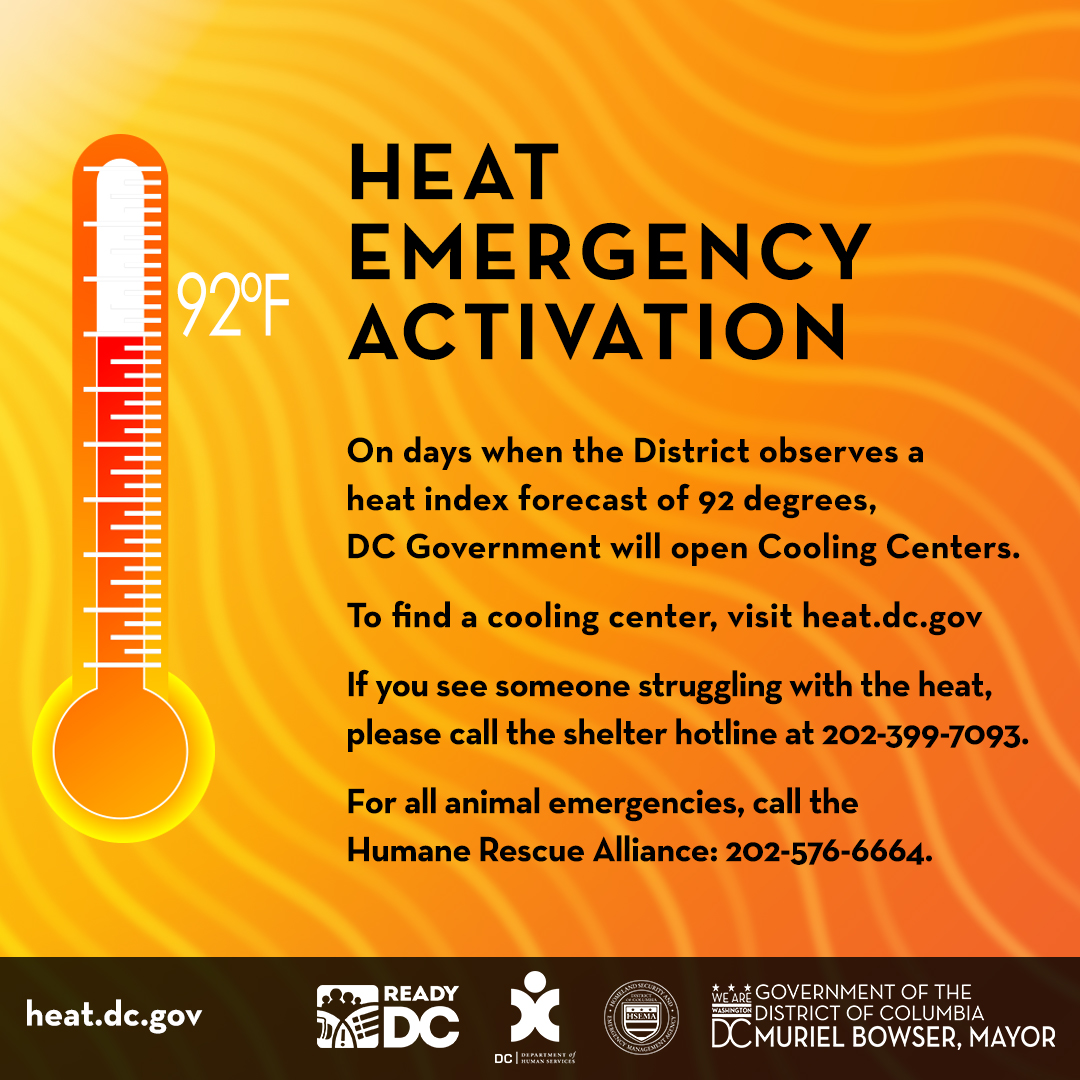 (7/15 10:33AM) A Heat Emergency has been issued for the District of Columbia. Heat index of 94 degrees is expected. Visit https://t.co/URE9GBfN7u to find a cooling center near you. Find tips to beat the heat at https://t.co/hjWz8VoxZY. #StayCoolDC https://t.co/5Yyk4fdbGI