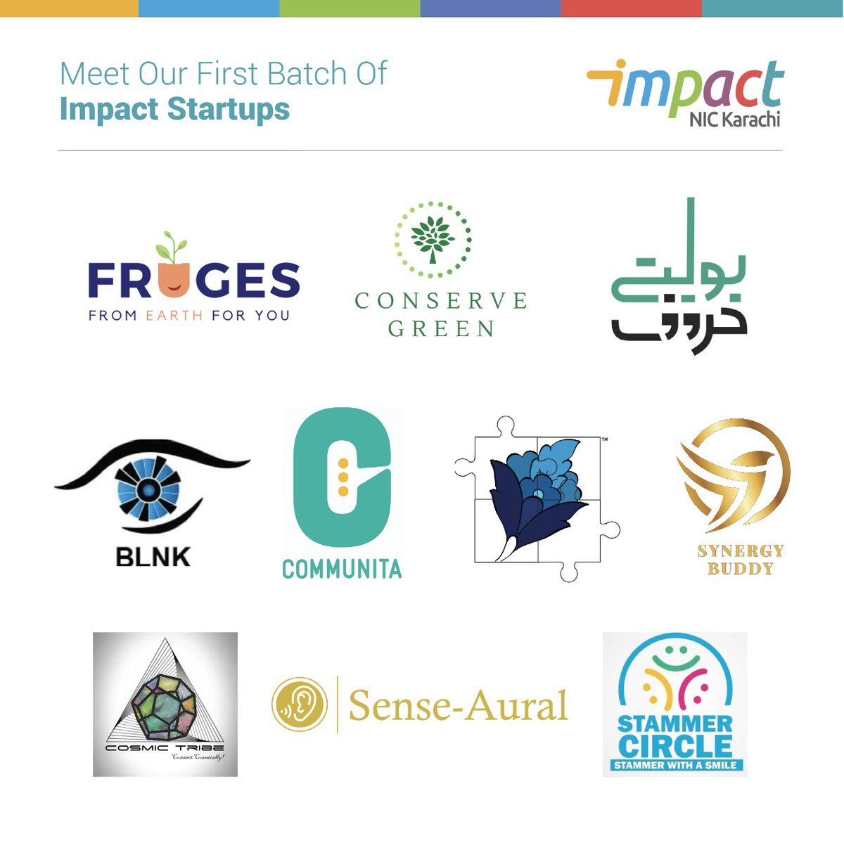 Introducing our first cohort of NIC Impact startups!  #BoltayHuroof #ConserveGreen #Communita #SynergyBuddy #CosmicTribe #SenseAural #StammerCircle #Fruges #BLNK #PaheliKaHal  Stay tuned to our social media to follow their journey!  #NICKarachi #LMKT #Ignite #startups #fundingpic.twitter.com/x580vQOH6B