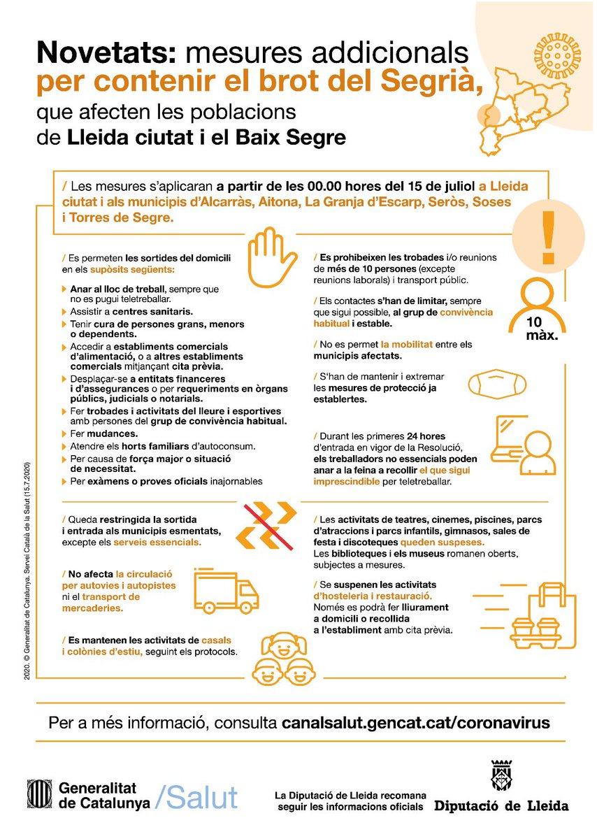 Informació de @salutcat sobre les novetats aplicables des d'aquesta tarda a #Lleida i sis pobles del #BaixSegre. #mascaretadistanciamans. https://t.co/UDQJgGNT9Q