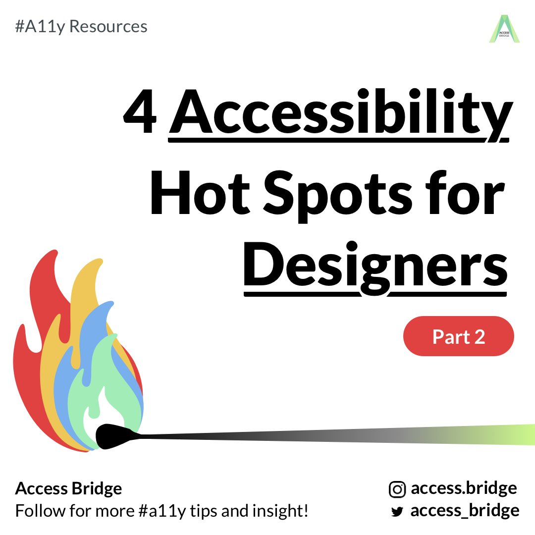 Hi friends! Here is part 2 of our UX series on Accessibility Hot Spots that designers need to know:  . #A11y #AccessibleDesign #Accessibility #UXUI #UXD #UXResearch #UXR #UIDesign #AppDesign #AppDesigner #Appdevelopers #InclusiveDesign #Design4Good #UX