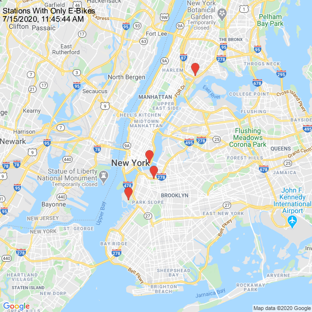 The following stations have only ebikes. Go ride for free: Cherry St Carlton Ave & Park Ave Sigourney St & Columbia St E 138 St & Cypress Ave pic.twitter.com/HoasuXnuGA