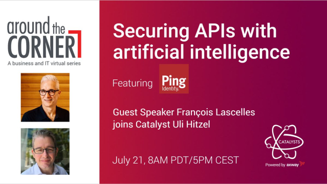 Do you want to know more about securing APIs with Artificial Intelligence #AI? Join Axway Catalyst @u1i Hitzel for a conversation with @flascelles, Field CTO @pingidentity July 21, 2020 | 8am PDT / 5pm CEST ‣ REGISTER NOW: https://bit.ly/2OrHOPxpic.twitter.com/f9QFMmnsHk