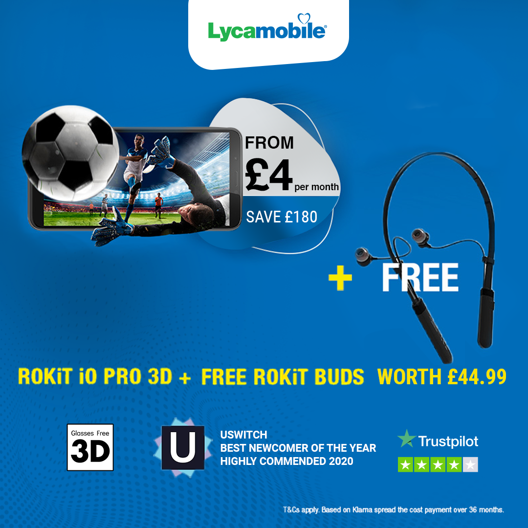 Another amazing offer from of our friends at Lyca! The IO Pro 3D + Free ROKiT Buds from just £4 a month!! A no-brainer particularly for those with friends and family abroad. Visit https://t.co/MlgdBMdCS4 #keeptalking #ROKiTPhonesUK #3Dsmartphones #Lyca https://t.co/ksbYdpoYSJ