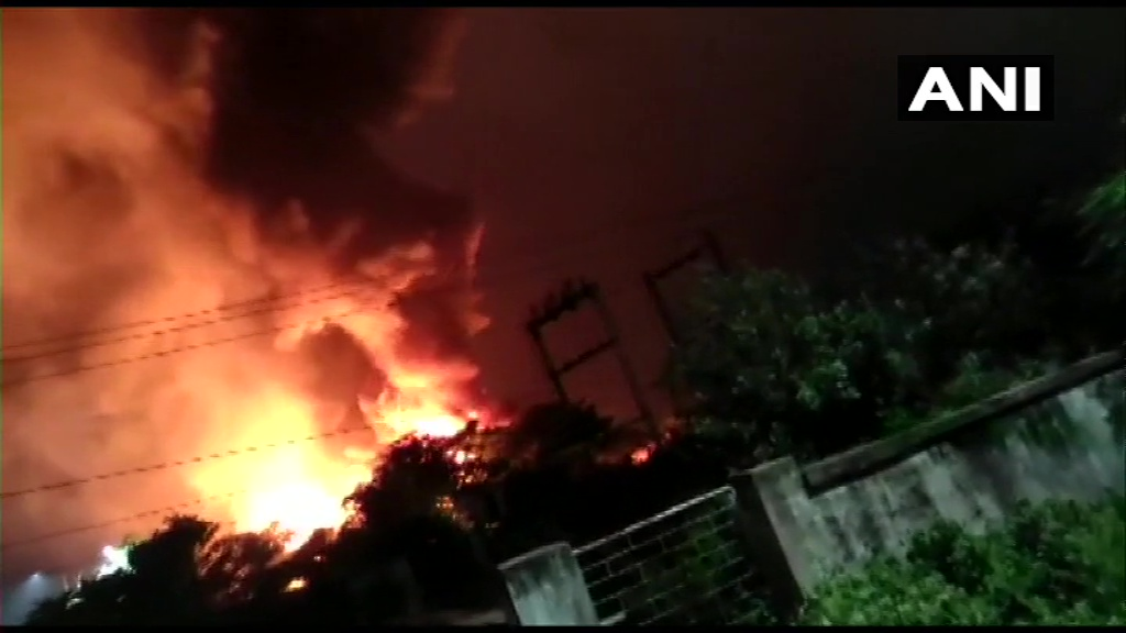 Andhra Pradesh: A fire has broken out at a pharma company in JN pharma city, Visakhapatnam. Fire tenders at the spot. No casualties reported.