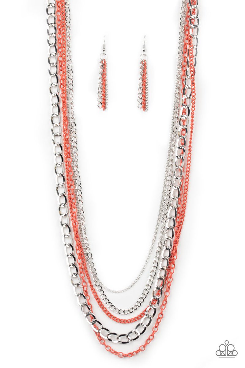 Industrial Vibrance - Orange Item #P2IN-OGXX-050XX A collision of mismatched silver and vibrant coral chains layer down the chest for a colorful industrial flair. Features an adjustable clasp closure. Paparazziaccessories  .com/262983 #layers #chains #Accessoriespic.twitter.com/scwfgHqLAL