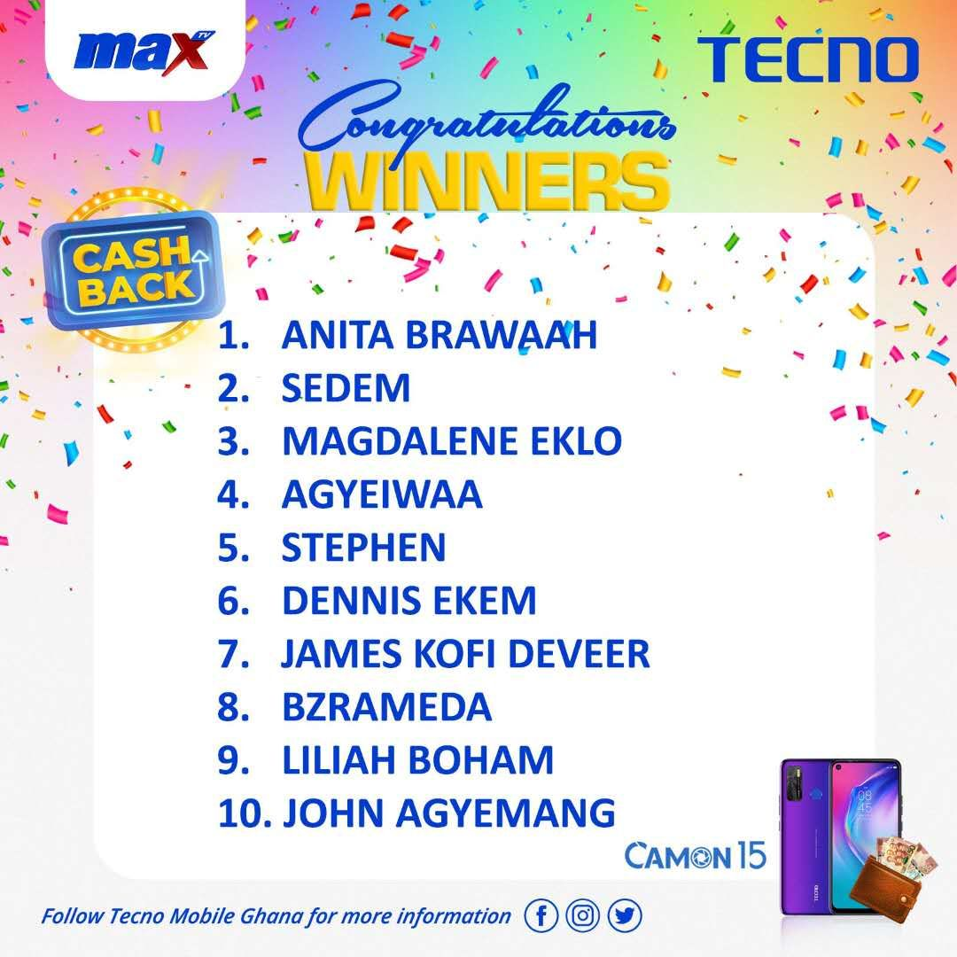 Congratulations to this week's winners of the grand draw of the Cashback on Camon 15 Promo From now till 31st August,2020, buy a Camon 15 from any accredited Tecno shop nationwide and stand the chance of winning a 100% refund on your purchase in our weekly draw. #Camon15 #TecnoGh https://t.co/c1USELQdyi