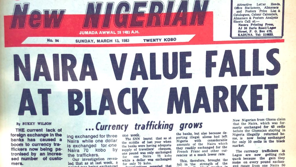 There was panic in the country in 1983 when naira fell so low to the extent that $1 was exchanged for N1.70 kobo. Prior to this $1 was exhanged for 75 kobo: <br>http://pic.twitter.com/omfA9IbO4Q