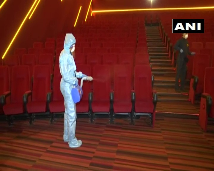 Maharashtra:Precautionary measures being taken at multiplexes in Mumbai as they await govt nod for resumption of their services.Chief operating officer of a multiplex says,Weve prepared stringent guidelines including staggered show timings to maintain social distancing.(13.07)
