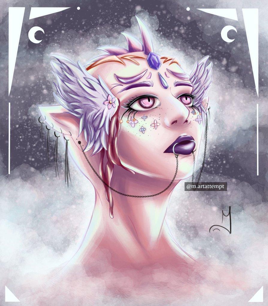 Buenas gentee💕 Os dejo por aquí otro dibujo que he hecho probando nuevos pinceles de Photoshop y esas cositas, espero que os guste!!💕💕  [#oc #originalcharacter #characterdesign #space #universe #fantasy #fantasymakeup #makeup #alien ] https://t.co/8daTS9cp9q