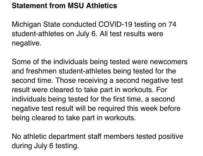 MSU's latest COVID test results - 0 positive out of 74 athletes tested.
