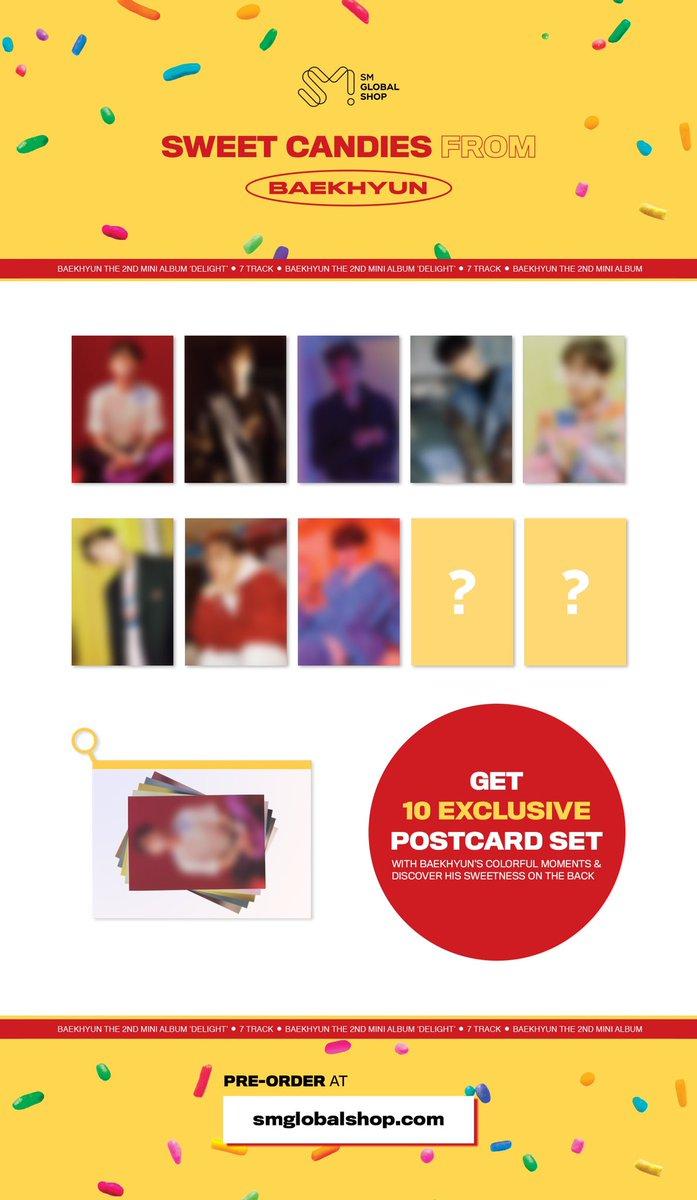BAEKHYUN The 2nd Mini Album 'Delight' Postcard Set 💌✨  Get 10 EXCLUSIVE Postcard with BAEKHYUN's colorful moments 🍭❤️ 👉 https://t.co/NoNxGtbCWZ - #백현 #BAEKHYUN #엑소 #EXO #weareoneEXO #Delight #Candy #큥이_에리_기가막힌_케미스트리 #SMGlobalShop #SGS https://t.co/GSQZXvjwcy